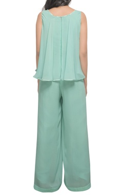 Mint green hand embroidered jumpsuit
