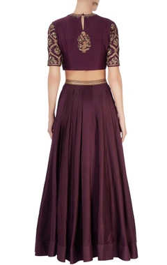 Purple zari embroidered lehenga