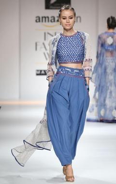 Blue embroidered mesh dhoti set
