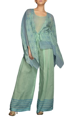 blue & green digital print pant set