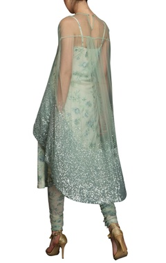 Blue & green floral print kurta set