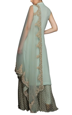 Light green high collar kurta set