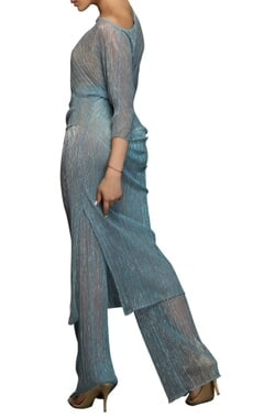 Blue drape tunic & straight pants