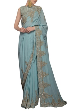 Icy blue sequin embellished sari