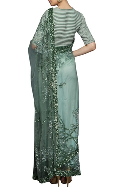 sea green sequin sari & blouse