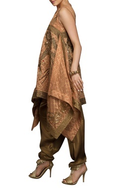 brown kurta with gold embroidery set