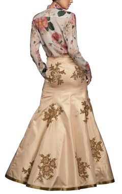 peach mermaid skirt with antique gold embroidery