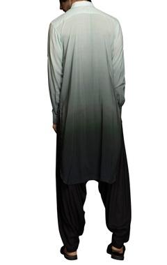 Grey & green ombre kurta set