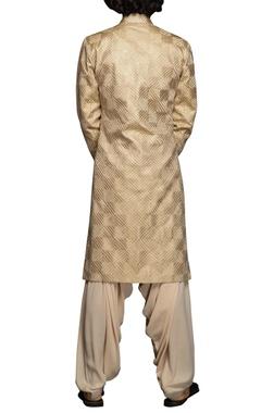 Beige thread embroidered sherwani