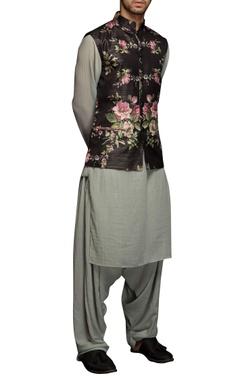 Black floral nehru jacket set