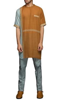 Brown & blue stripe print kurta