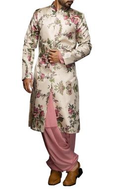 White & pink floral sherwani set