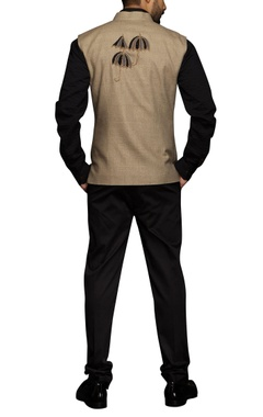 Beige umbrella motif nehru jacket