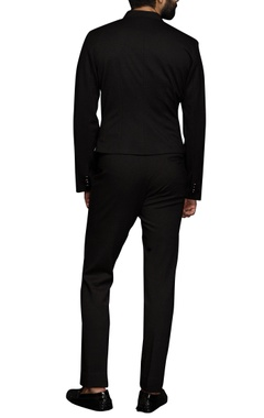 black aysmmteric blazers & trousers