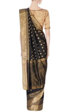 Black gold brocade designed sari & blouse