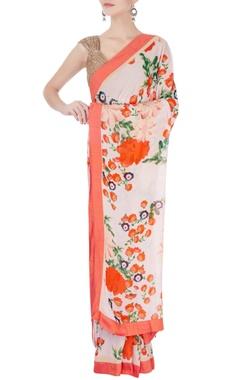 Orange floral print sari & blouse