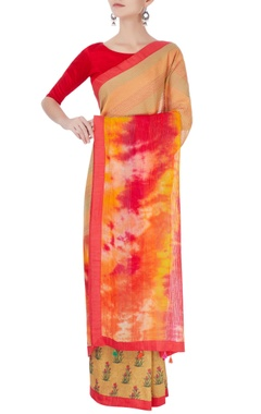 Red chiffon sari with exposed stitch detailing & blouse
