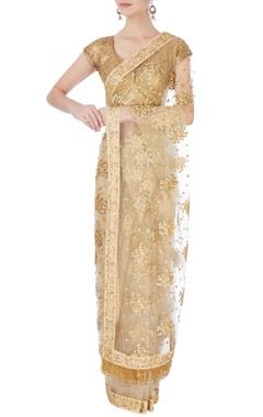 Beige & gold sequin net sari & blouse