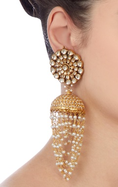 Gold jhalar pearl earrings