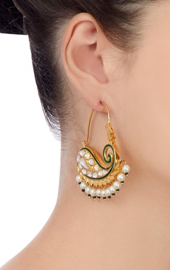 Gold & green earrings with white pearls