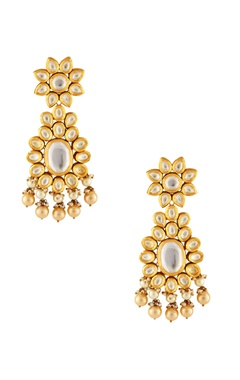 Gold & white circular motif earrings