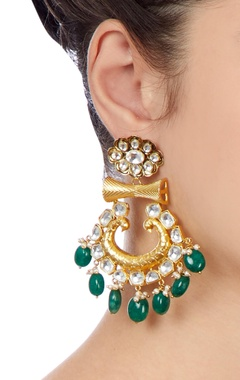 Gold & green kundan  earrings