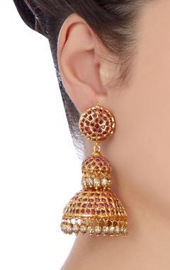 Gold two tier jhumka earrings