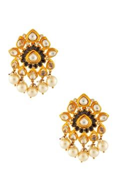 Gold & white kundan earrings
