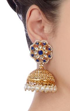 Gold & blue jhumka earrings