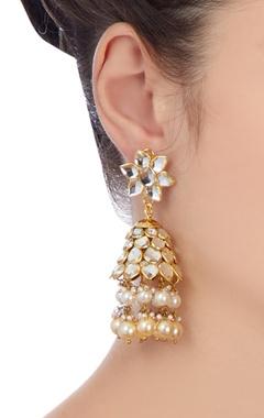 Gold & white pearls jhumka earrings