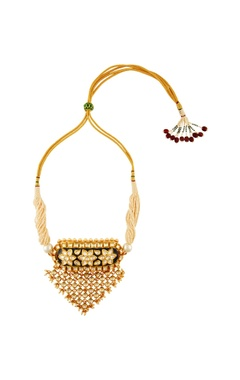 Gold & white triangular shaped moti necklace