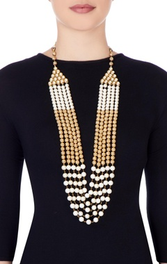 Gold & white beaded style necklace