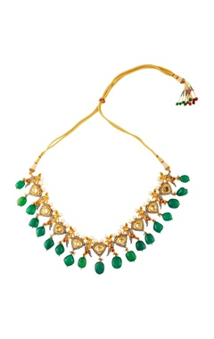 Gold & green stoned necklace