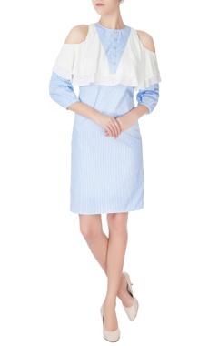 blue & white cold-shoulder dress