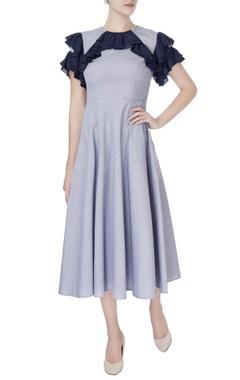 Manika Nanda Blue layered retro dress