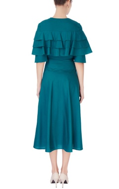 Teal blue double tired dress