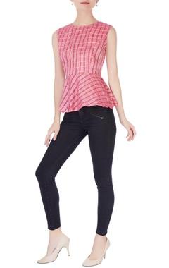 Pink peplum style blouse