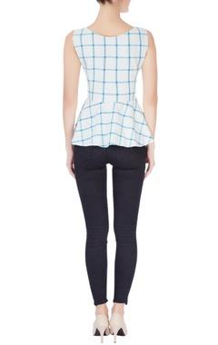Blue & white check blouse