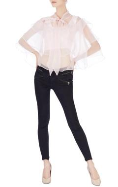 White organza layered blouse