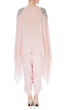 pastel pink embroidered cape