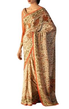 Off-white & rust sari & blouse