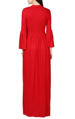 Red maxi dress with bell sleeves