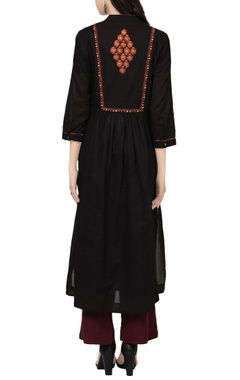 Black A-line kurta with embroidery