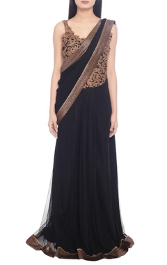 Black net beaded sari gown