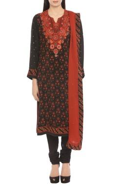 black & orange printed kurta set