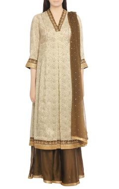 off-white & brown embroidered kurta