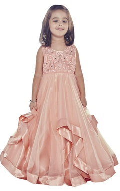 Rose pink asymmetric style gown