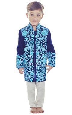 Blue velvet sherwani set
