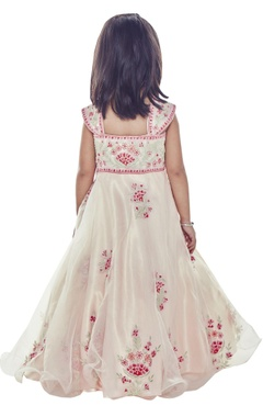 Pink floral embroidered gown