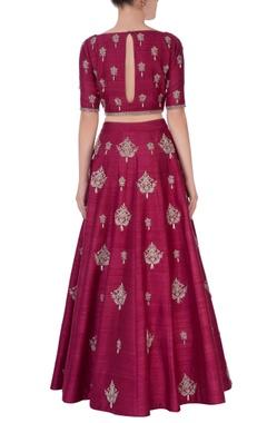 wine embroidered lehenga & blouse